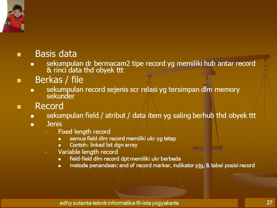 Basis data Berkas / file Record