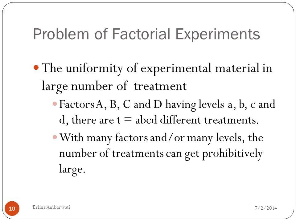 Problem of Factorial Experiments