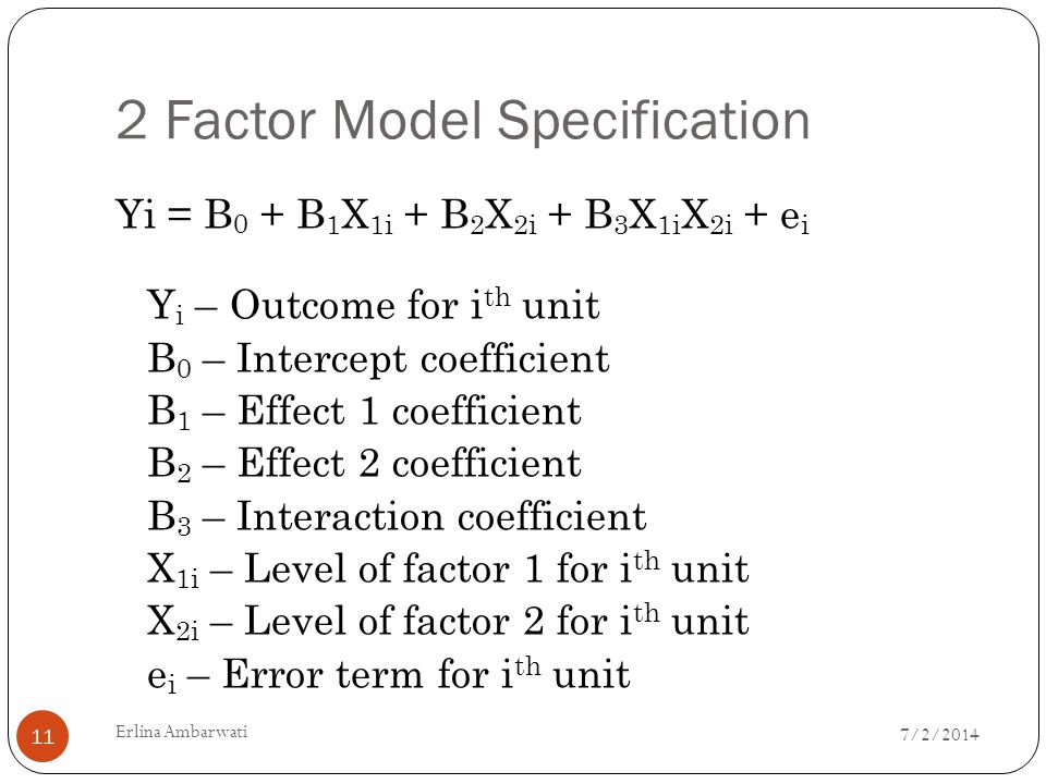 2 Factor Model Specification