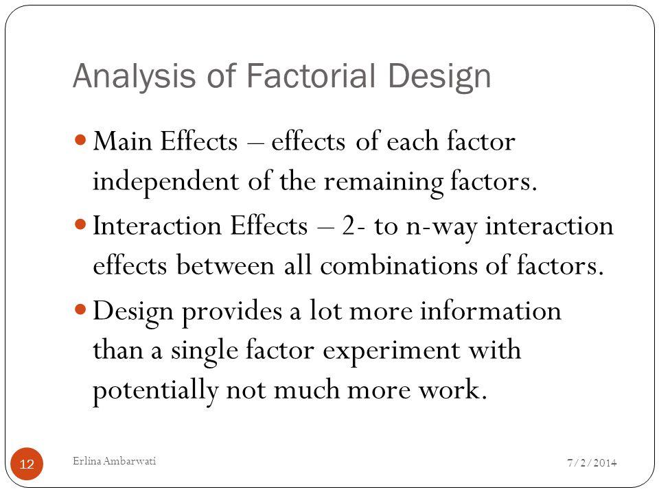 Analysis of Factorial Design