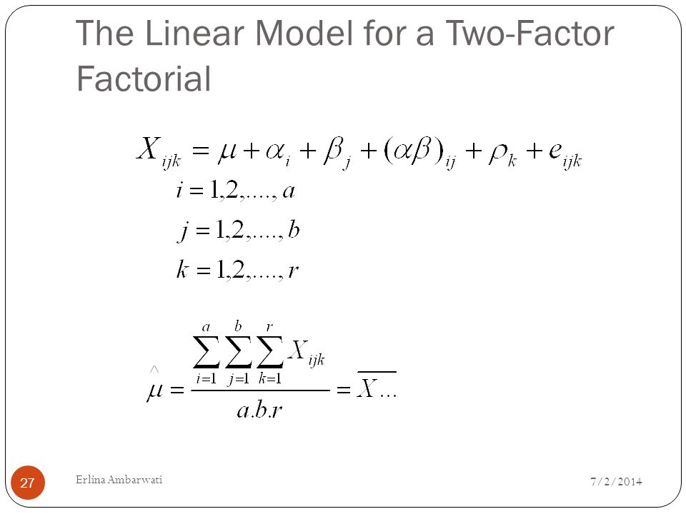 The Linear Model for a Two-Factor Factorial