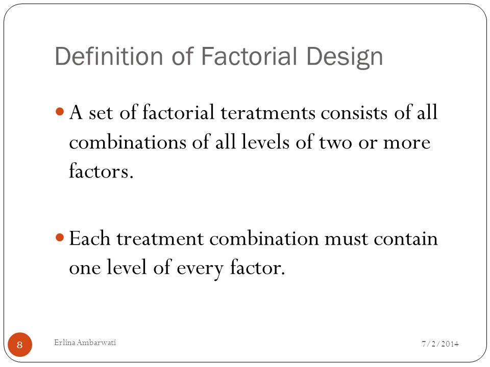 Definition of Factorial Design
