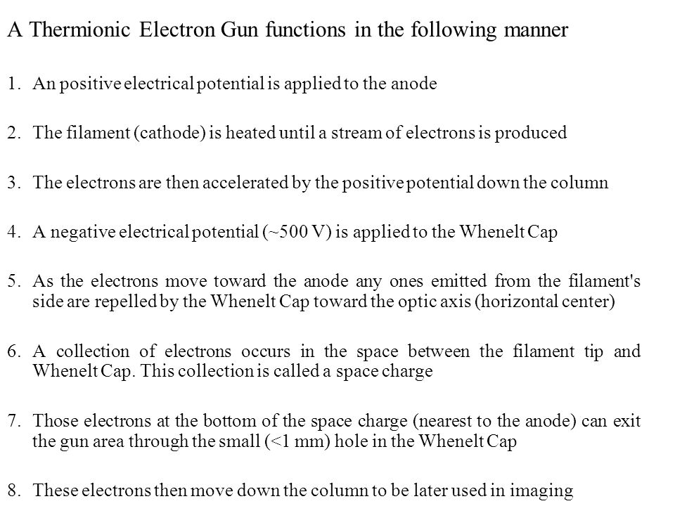 A Thermionic Electron Gun functions in the following manner