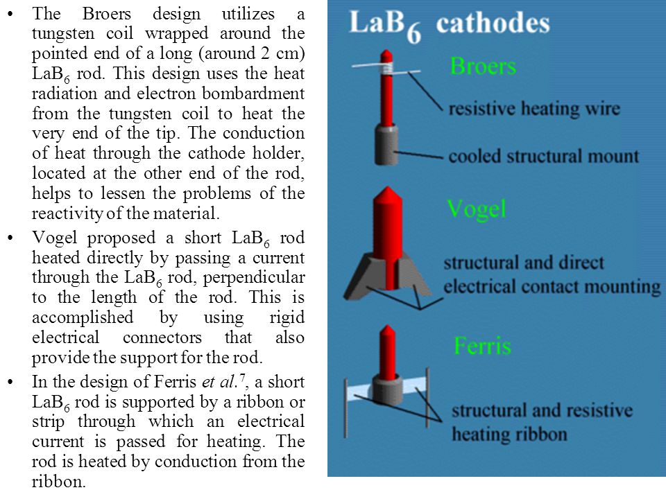 The Broers design utilizes a tungsten coil wrapped around the pointed end of a long (around 2 cm) LaB6 rod. This design uses the heat radiation and electron bombardment from the tungsten coil to heat the very end of the tip. The conduction of heat through the cathode holder, located at the other end of the rod, helps to lessen the problems of the reactivity of the material.