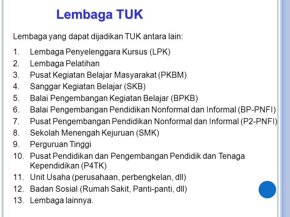 Lembaga TUK Lembaga yang dapat dijadikan TUK antara lain: