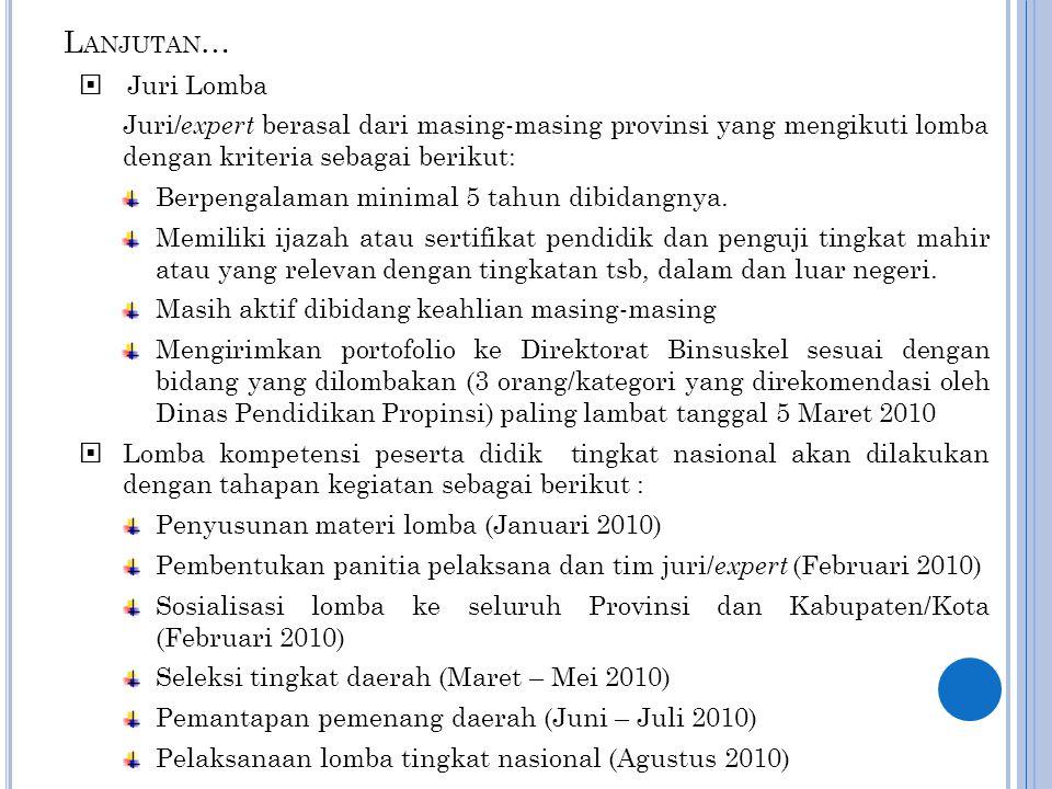 Lanjutan… Juri Lomba. Juri/expert berasal dari masing-masing provinsi yang mengikuti lomba dengan kriteria sebagai berikut: