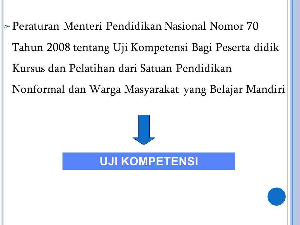 Peraturan Menteri Pendidikan Nasional Nomor 70 Tahun 2008 tentang Uji Kompetensi Bagi Peserta didik Kursus dan Pelatihan dari Satuan Pendidikan Nonformal dan Warga Masyarakat yang Belajar Mandiri