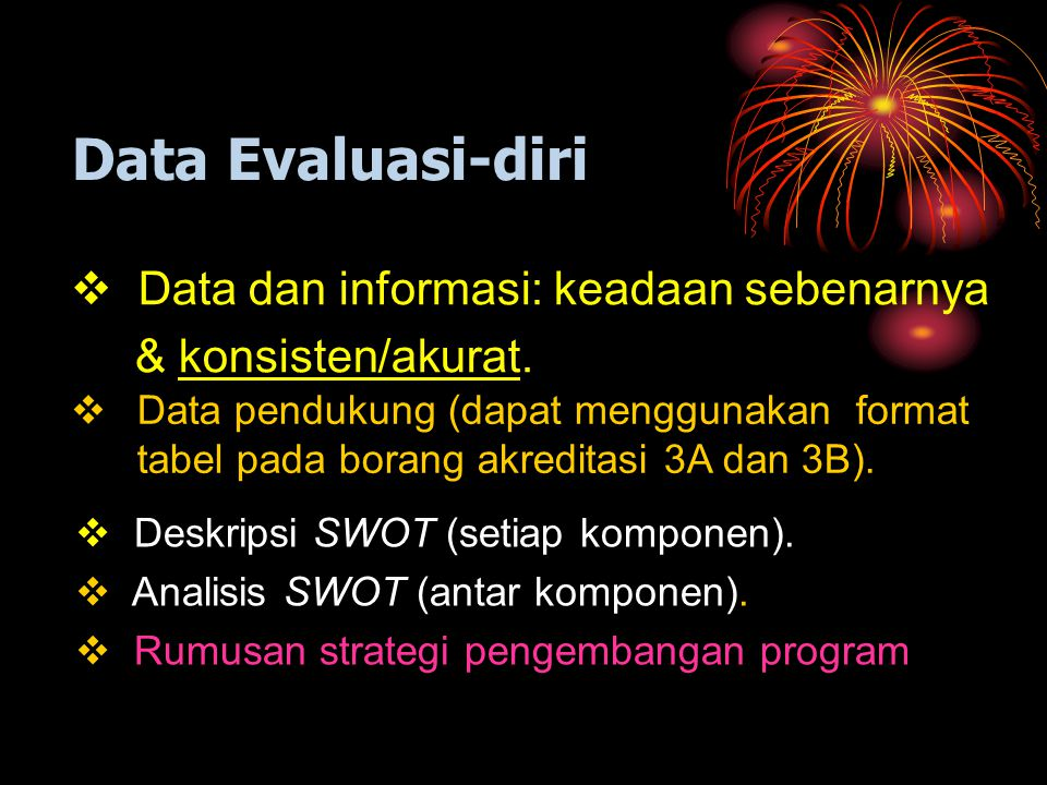 Data Evaluasi-diri Data dan informasi: keadaan sebenarnya