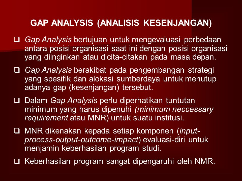 GAP ANALYSIS (ANALISIS KESENJANGAN)