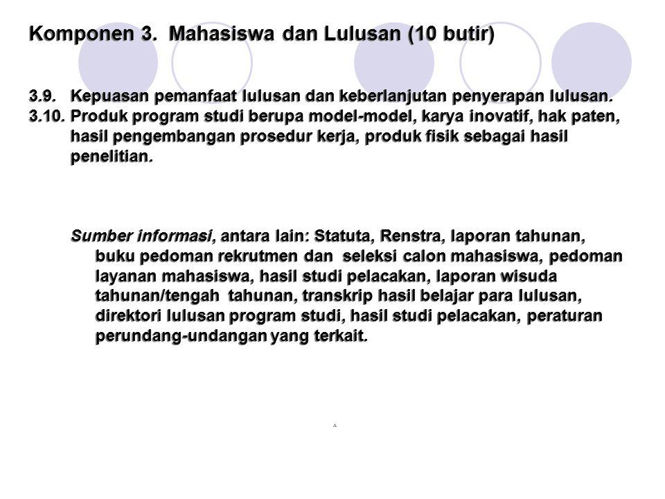Komponen 3. Mahasiswa dan Lulusan (10 butir)