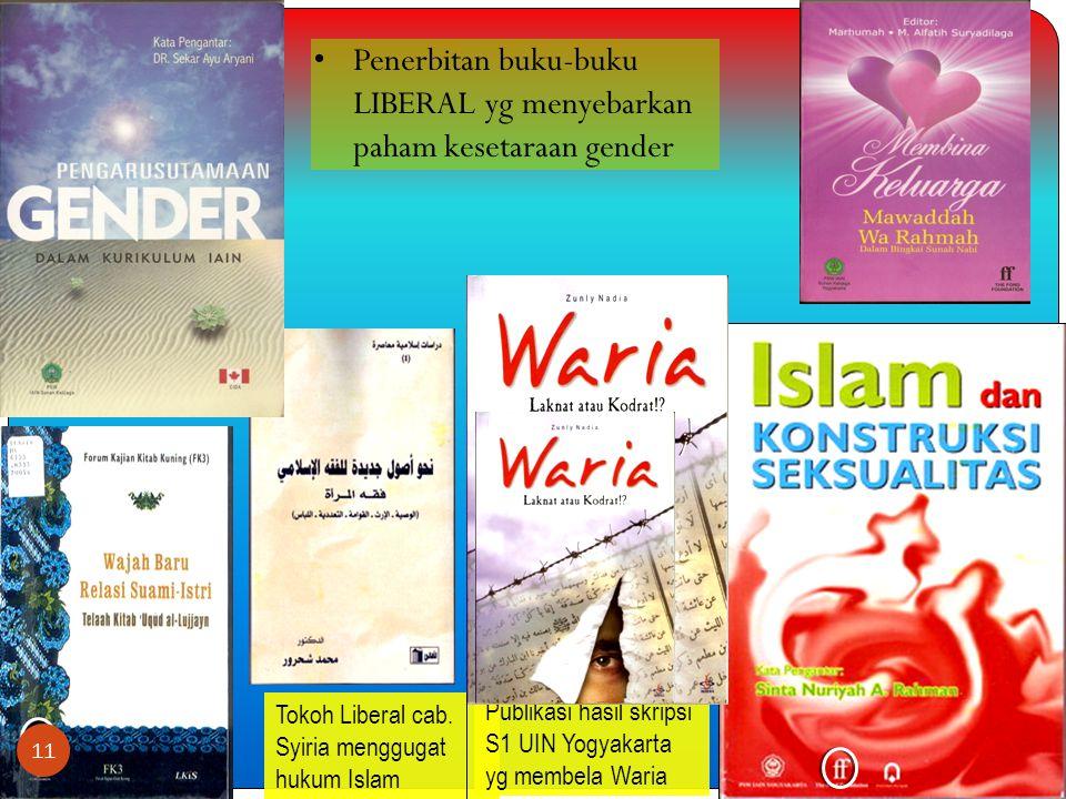 Penerbitan buku-buku LIBERAL yg menyebarkan paham kesetaraan gender