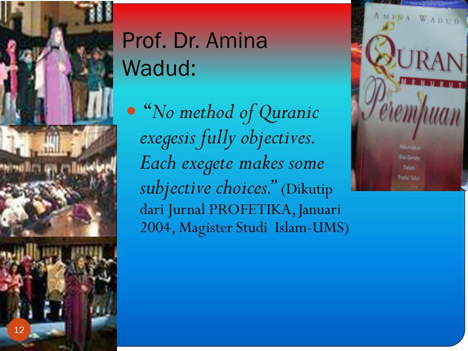 Prof. Dr. Amina Wadud: