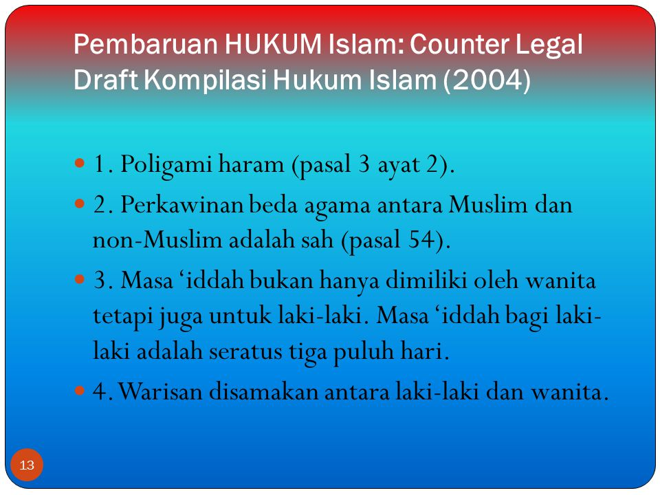 Pembaruan HUKUM Islam: Counter Legal Draft Kompilasi Hukum Islam (2004)