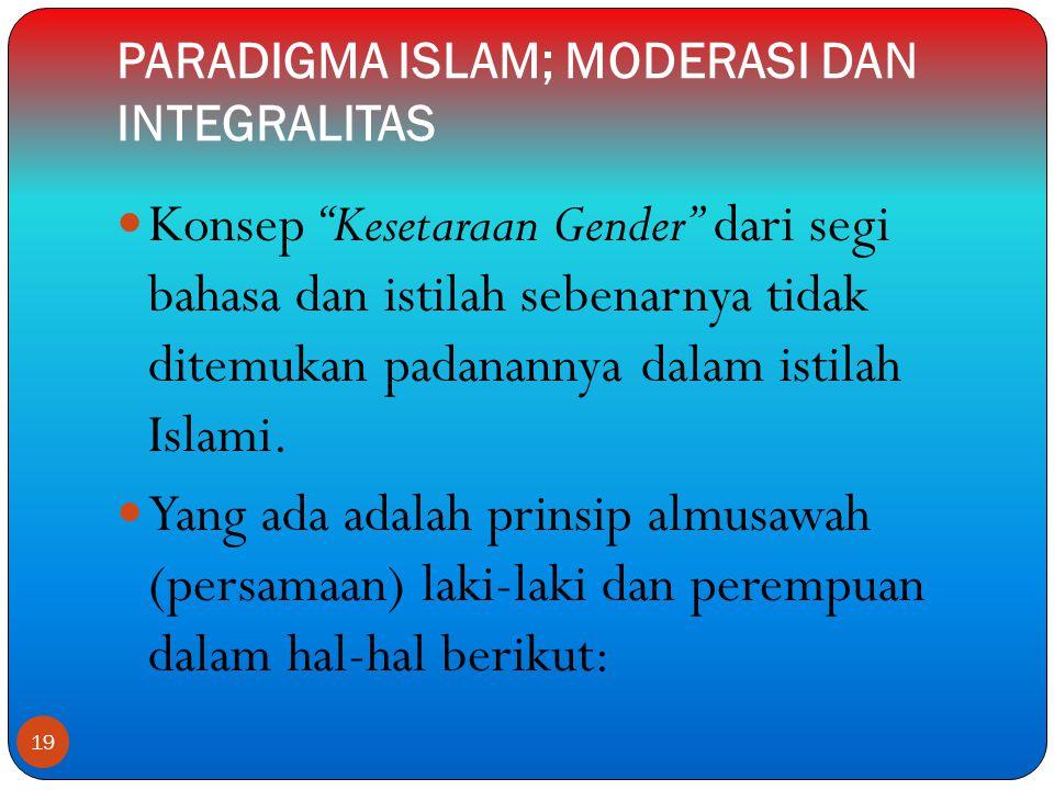 PARADIGMA ISLAM; MODERASI DAN INTEGRALITAS