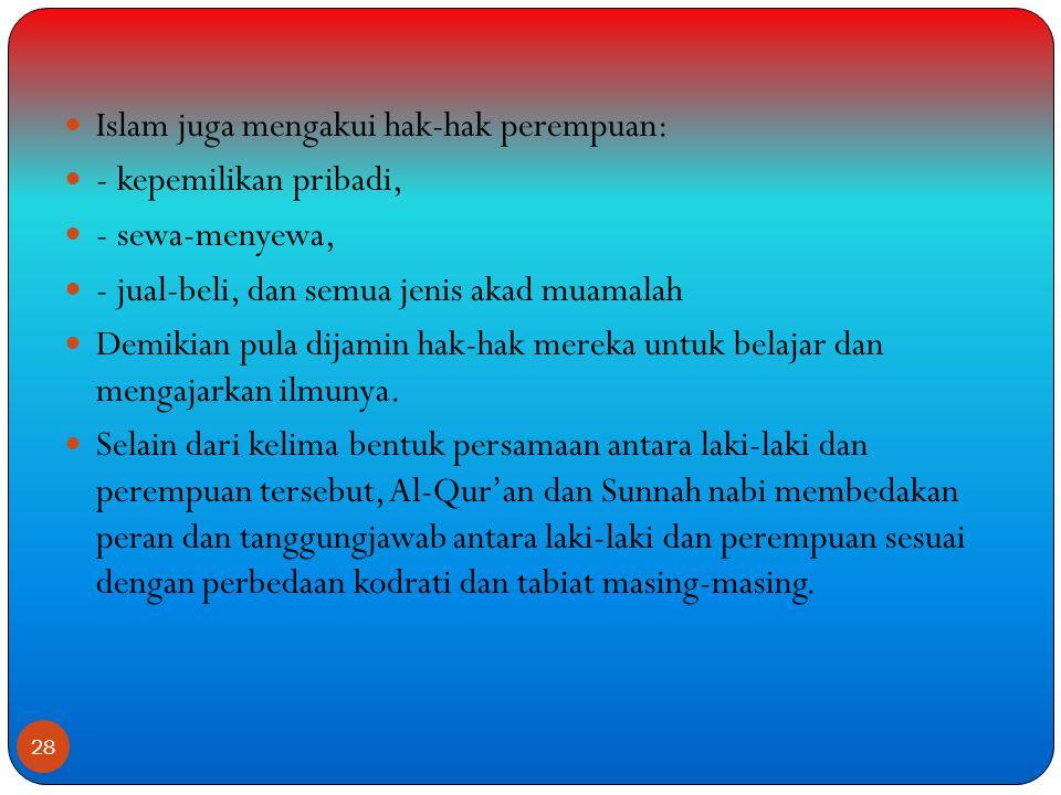 Islam juga mengakui hak-hak perempuan: