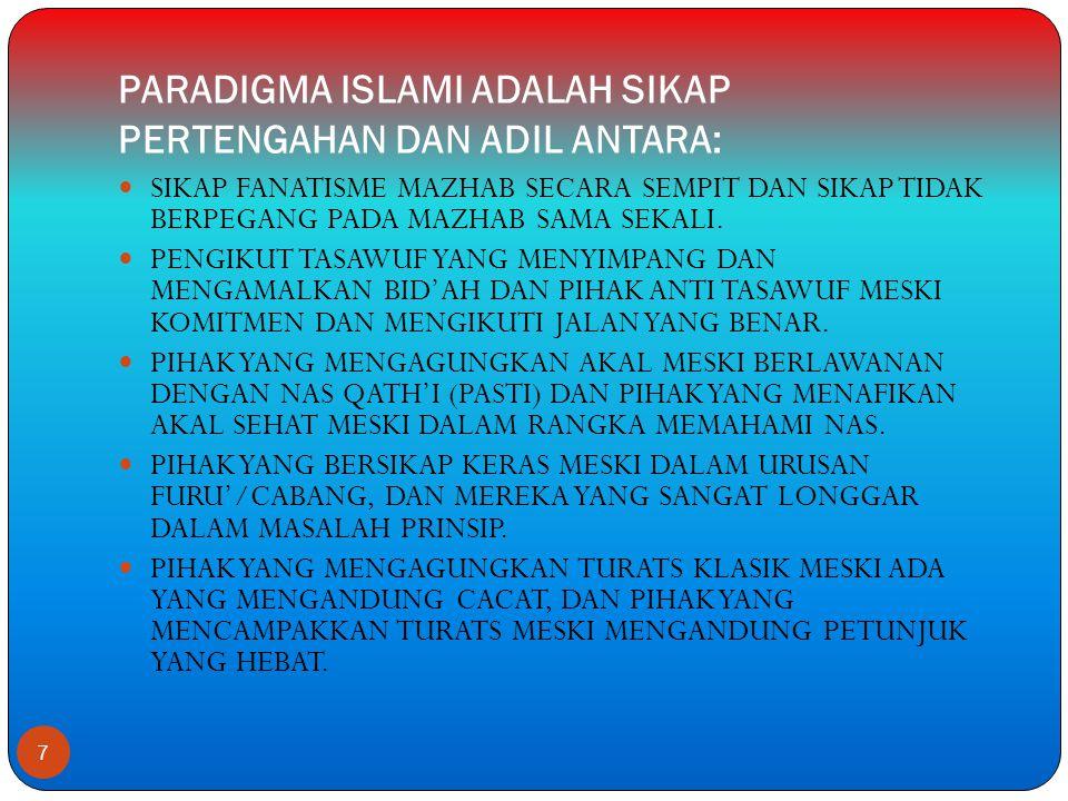PARADIGMA ISLAMI ADALAH SIKAP PERTENGAHAN DAN ADIL ANTARA:
