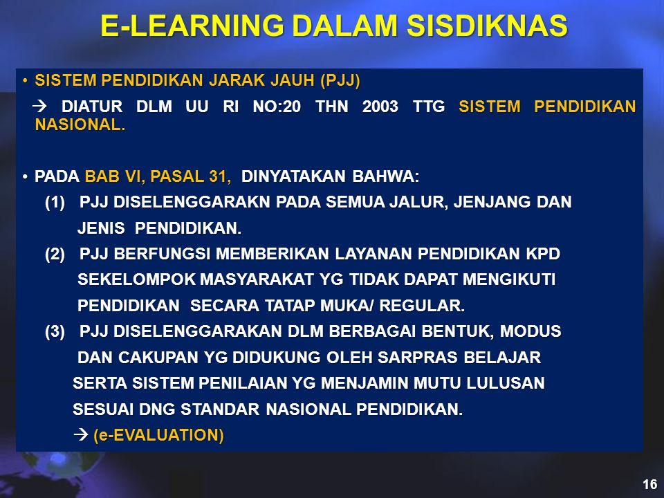 E-LEARNING DALAM SISDIKNAS