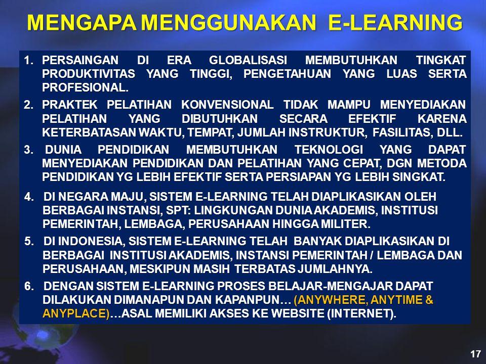 MENGAPA MENGGUNAKAN E-LEARNING