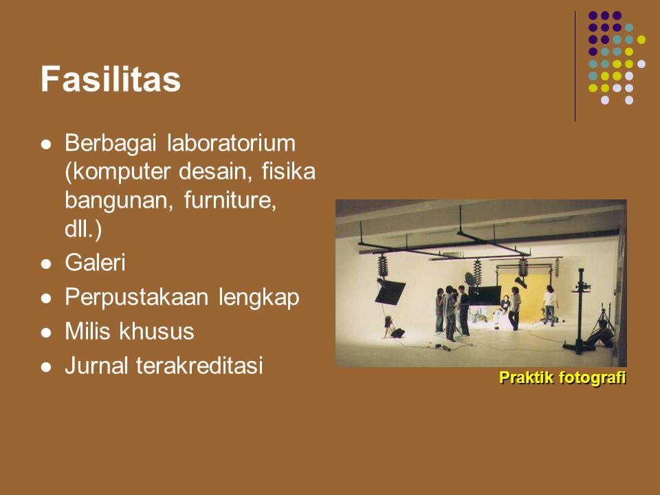 Fasilitas Berbagai laboratorium (komputer desain, fisika bangunan, furniture, dll.) Galeri. Perpustakaan lengkap.