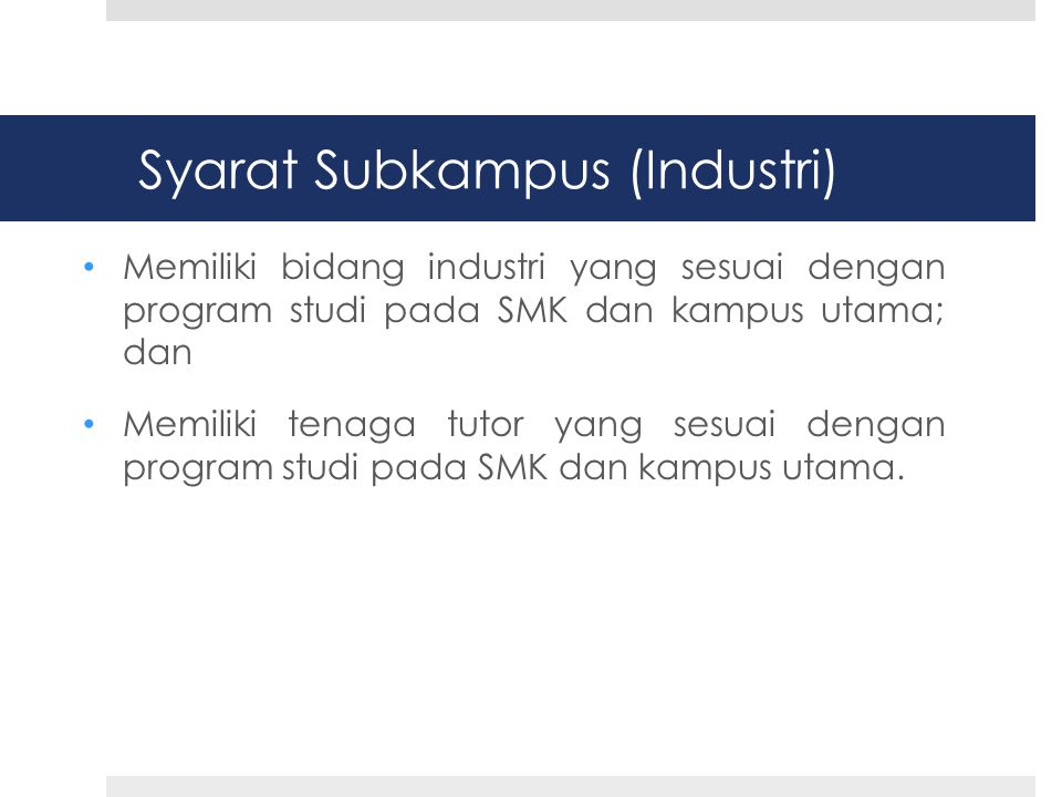 Syarat Subkampus (Industri)