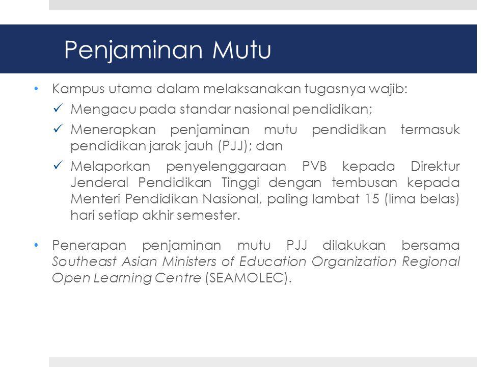 Penjaminan Mutu Kampus utama dalam melaksanakan tugasnya wajib: