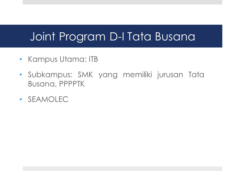 Joint Program D-I Tata Busana