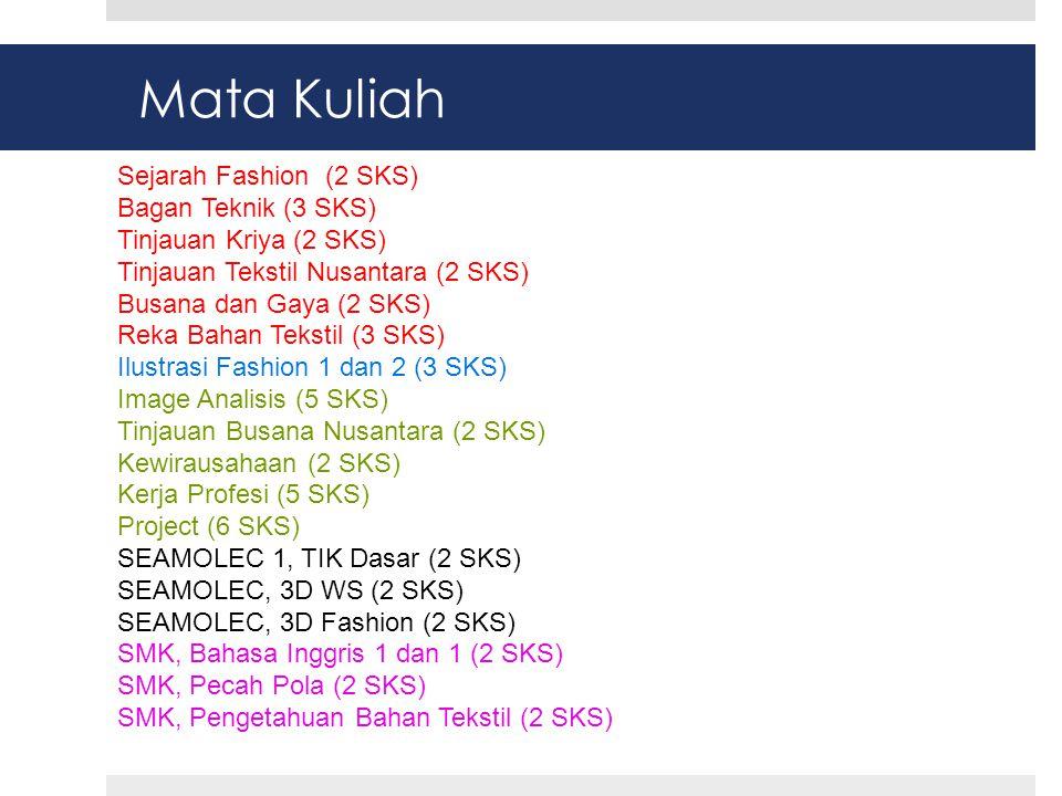 Mata Kuliah Sejarah Fashion (2 SKS) Bagan Teknik (3 SKS)