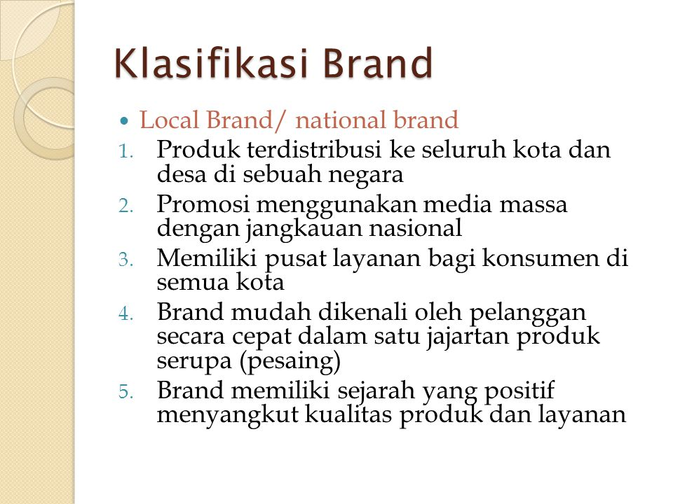 Klasifikasi Brand Local Brand/ national brand