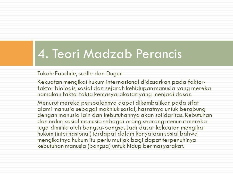 4. Teori Madzab Perancis Tokoh: Fauchile, scelle dan Duguit