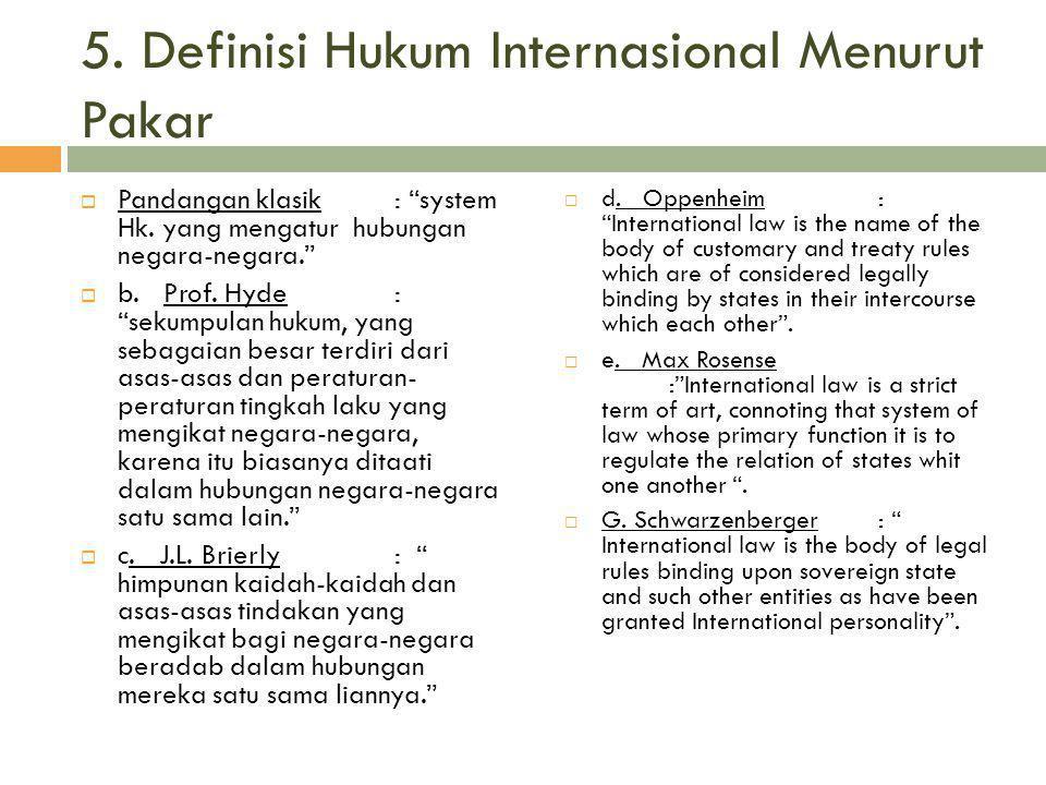5. Definisi Hukum Internasional Menurut Pakar