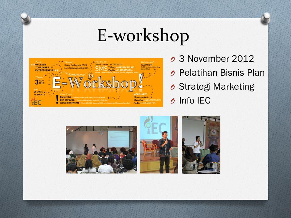 E-workshop 3 November 2012 Pelatihan Bisnis Plan Strategi Marketing