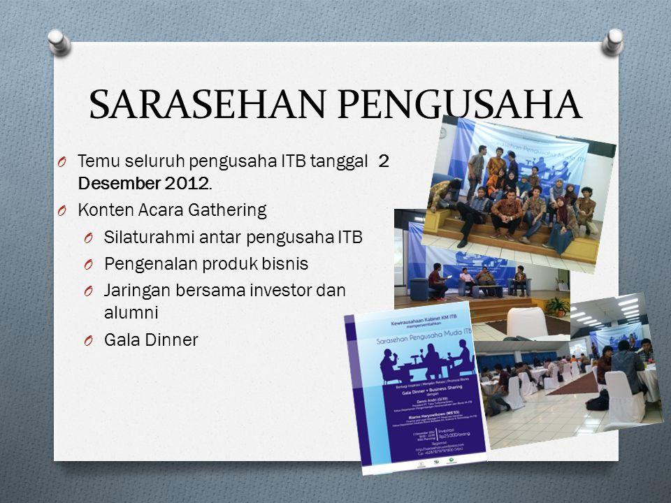 SARASEHAN PENGUSAHA Temu seluruh pengusaha ITB tanggal 2 Desember 2012. Konten Acara Gathering. Silaturahmi antar pengusaha ITB.
