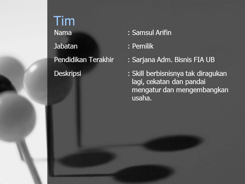 Tim Nama : Samsul Arifin Jabatan : Pemilik