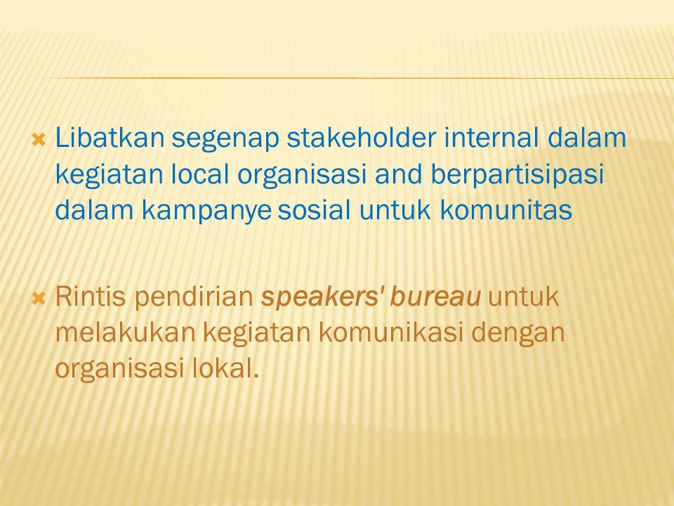 Libatkan segenap stakeholder internal dalam kegiatan local organisasi and berpartisipasi dalam kampanye sosial untuk komunitas