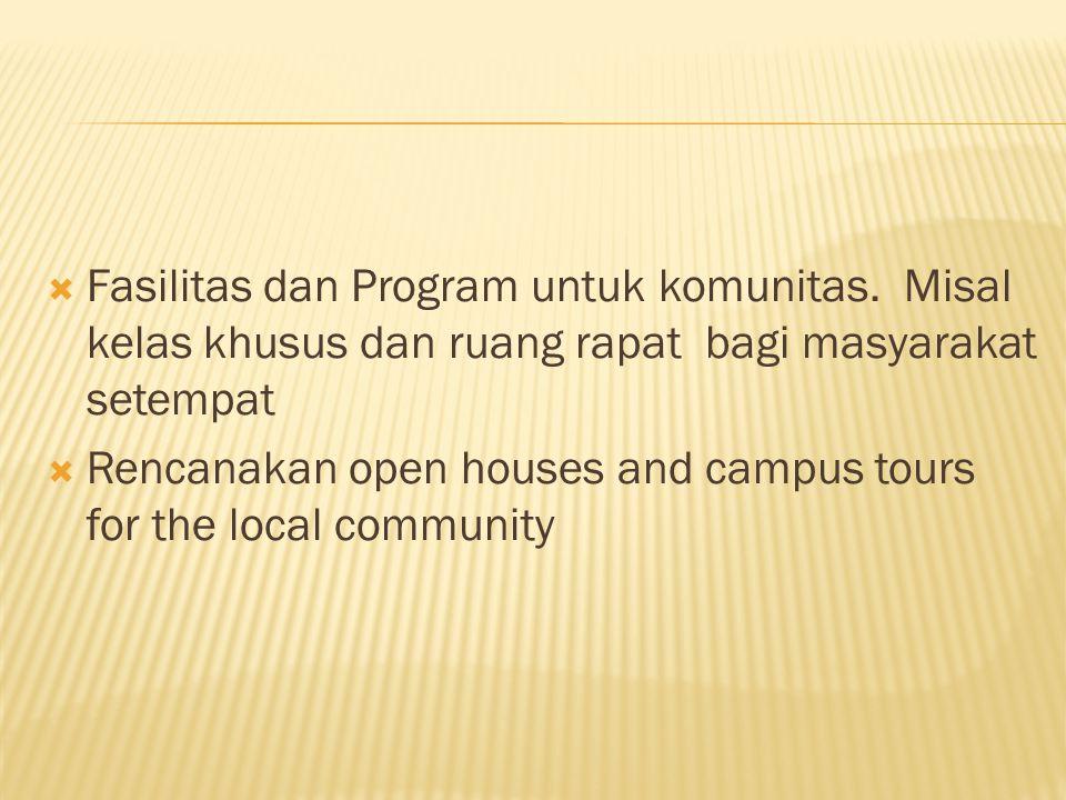 Fasilitas dan Program untuk komunitas