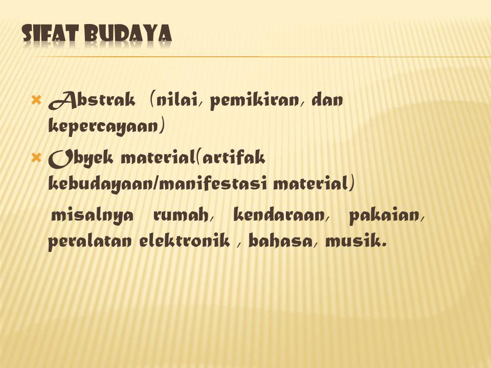 Sifat budaya Abstrak (nilai, pemikiran, dan kepercayaan) Obyek material(artifak kebudayaan/manifestasi material)