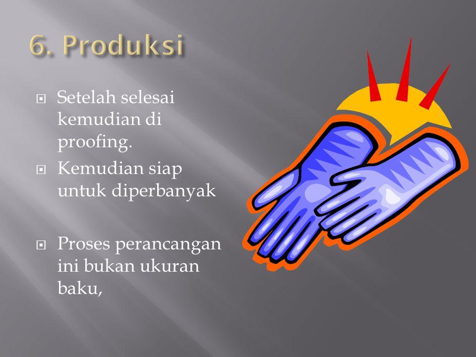 6. Produksi Setelah selesai kemudian di proofing.