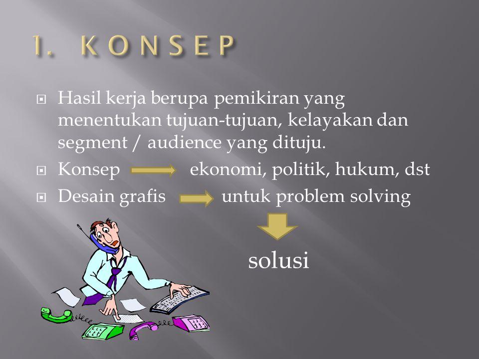1. K O N S E P Hasil kerja berupa pemikiran yang menentukan tujuan-tujuan, kelayakan dan segment / audience yang dituju.
