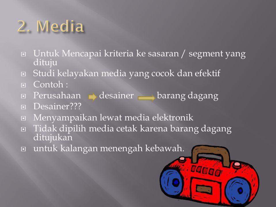 2. Media Untuk Mencapai kriteria ke sasaran / segment yang dituju