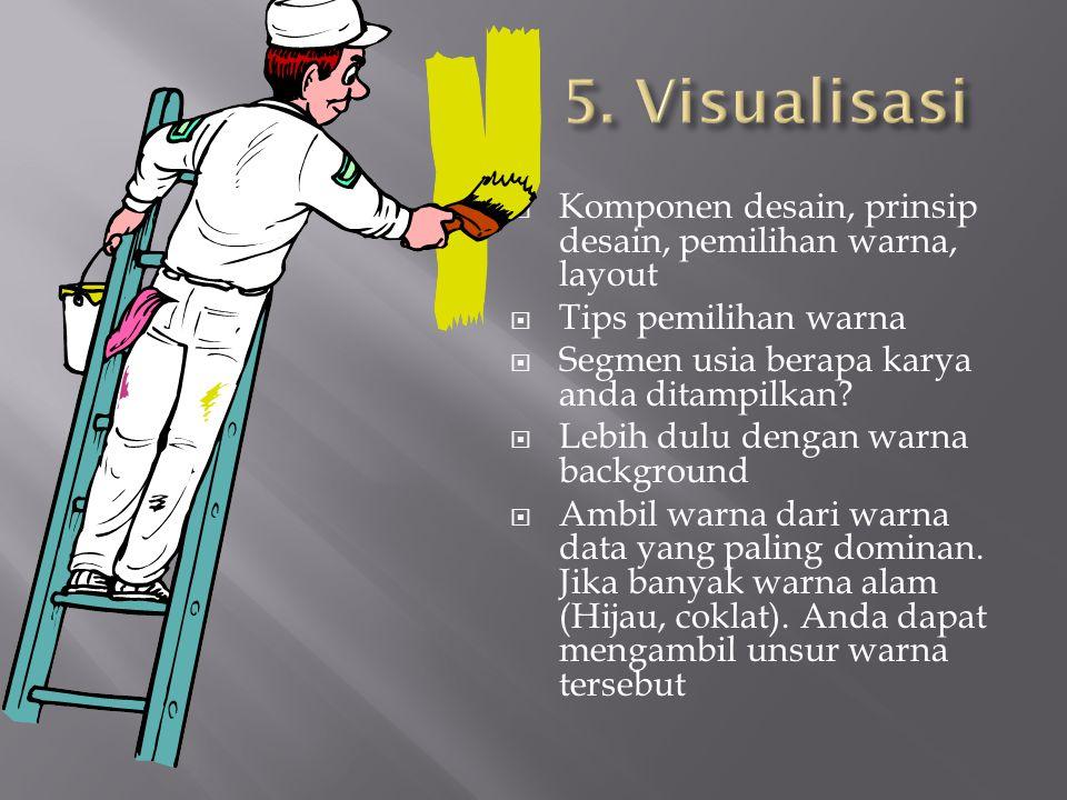 5. Visualisasi Komponen desain, prinsip desain, pemilihan warna, layout. Tips pemilihan warna. Segmen usia berapa karya anda ditampilkan