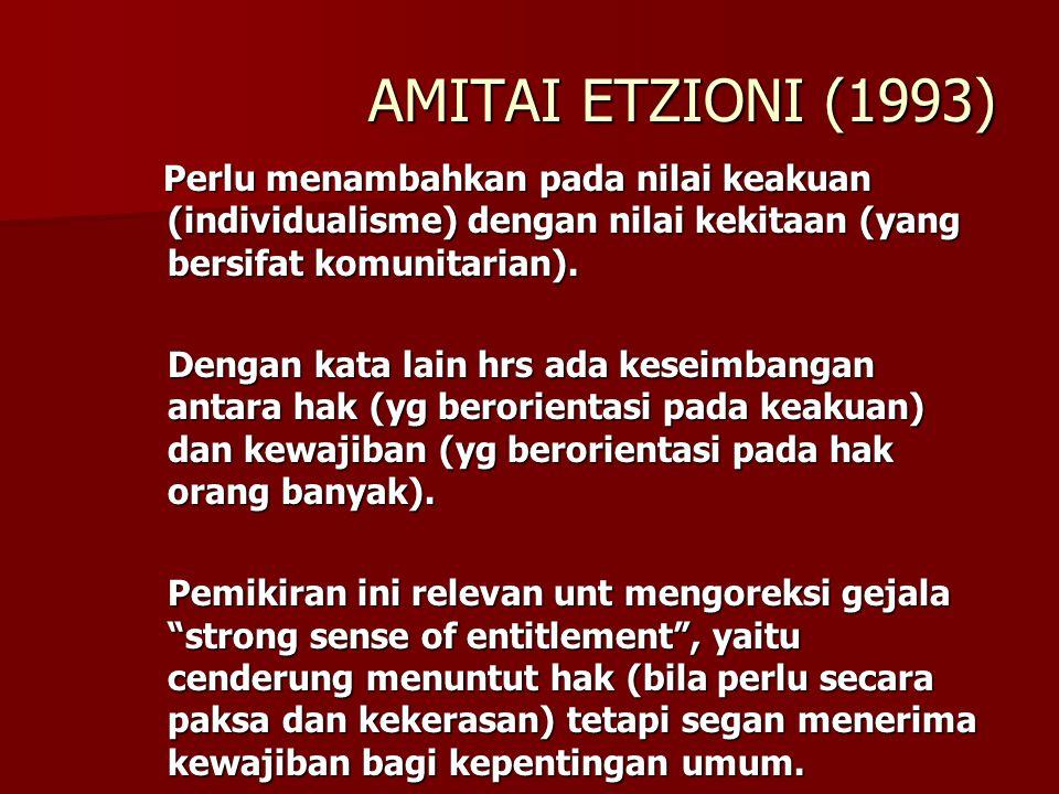 AMITAI ETZIONI (1993) Perlu menambahkan pada nilai keakuan (individualisme) dengan nilai kekitaan (yang bersifat komunitarian).