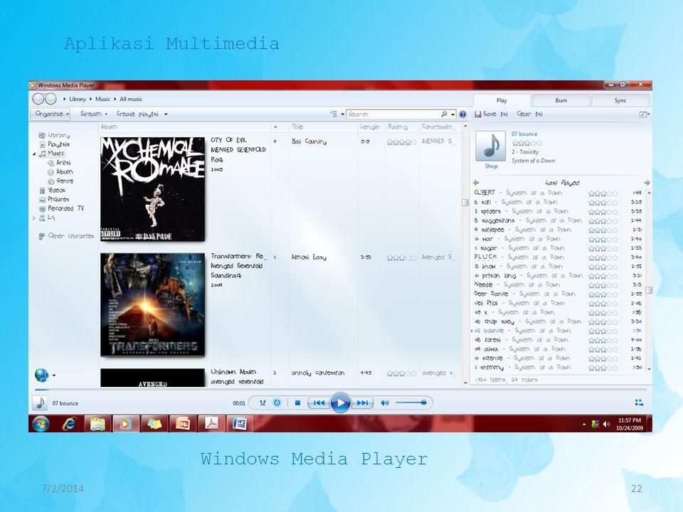 Aplikasi Multimedia Windows Media Player 4/3/2017