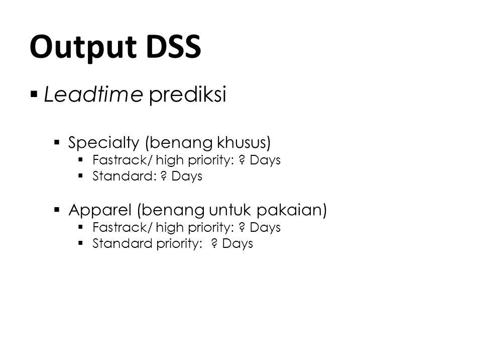 Output DSS Leadtime prediksi Specialty (benang khusus)
