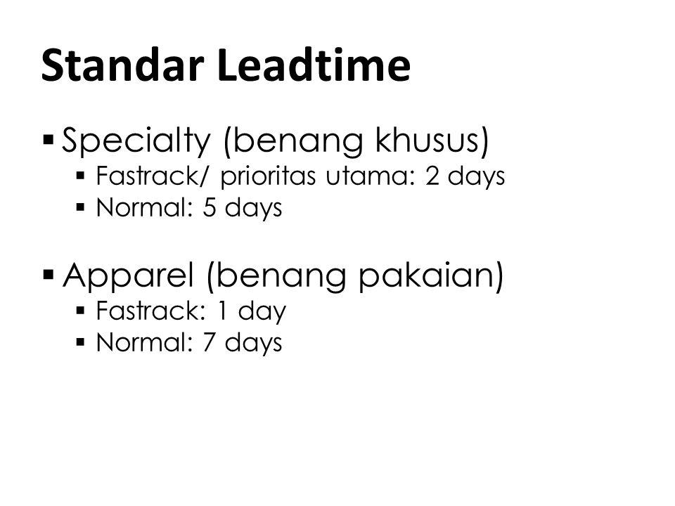 Standar Leadtime Specialty (benang khusus) Apparel (benang pakaian)