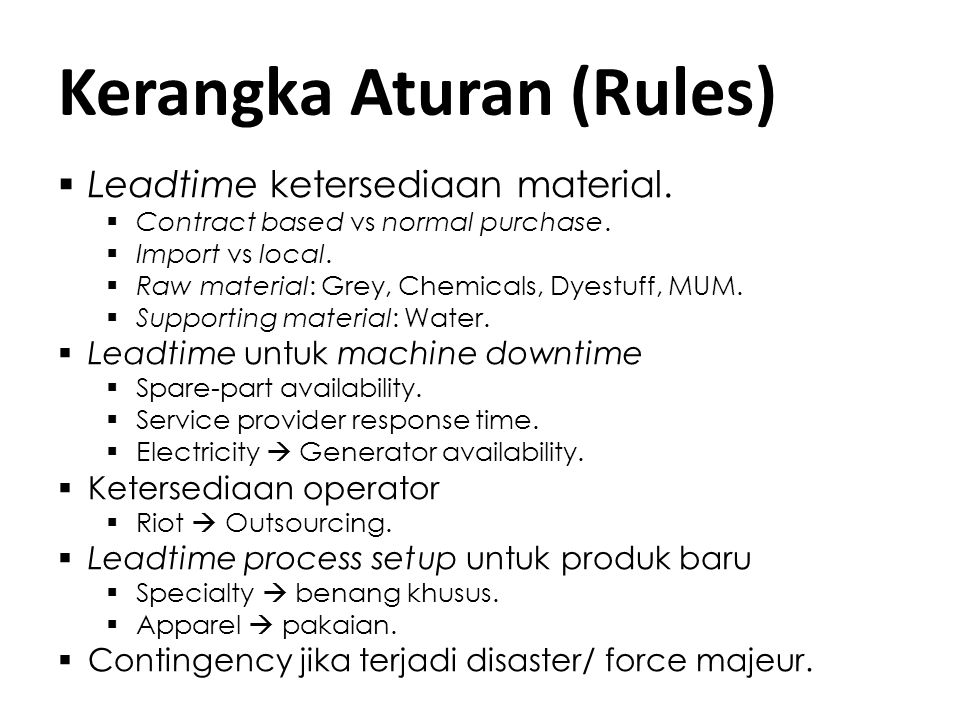 Kerangka Aturan (Rules)
