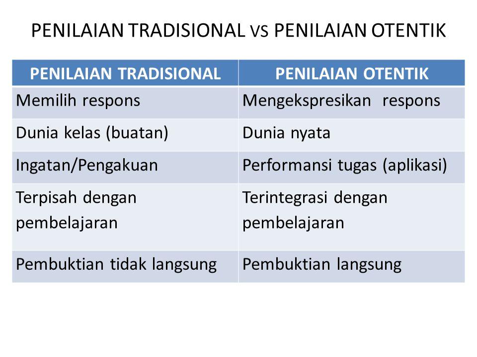 Penilaian tradisional vs Penilaian otentik