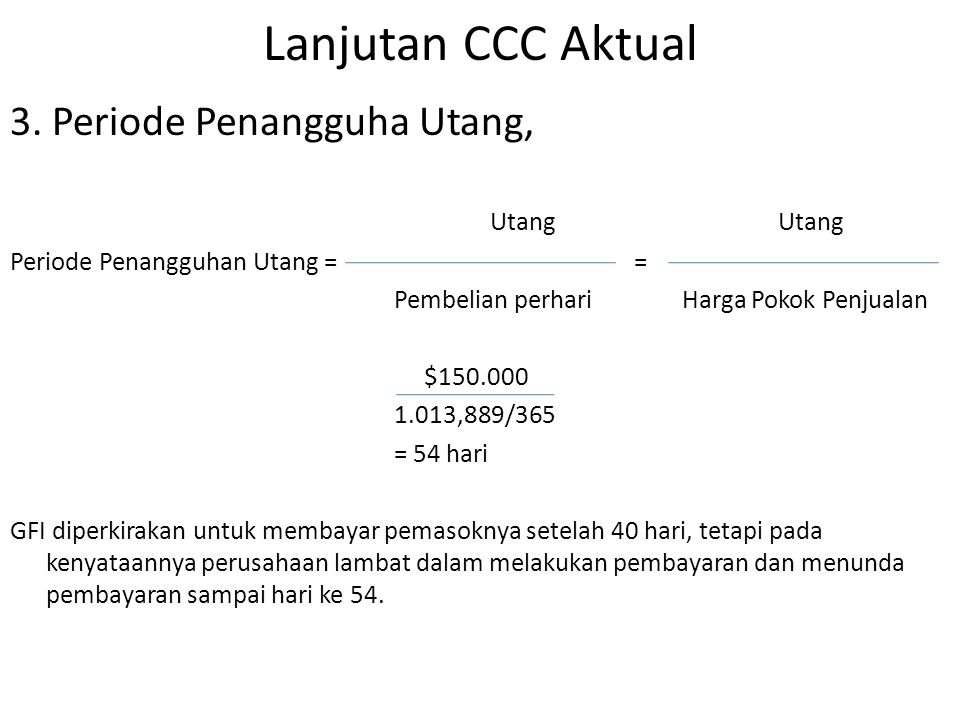 Lanjutan CCC Aktual 3. Periode Penangguha Utang, Utang Utang