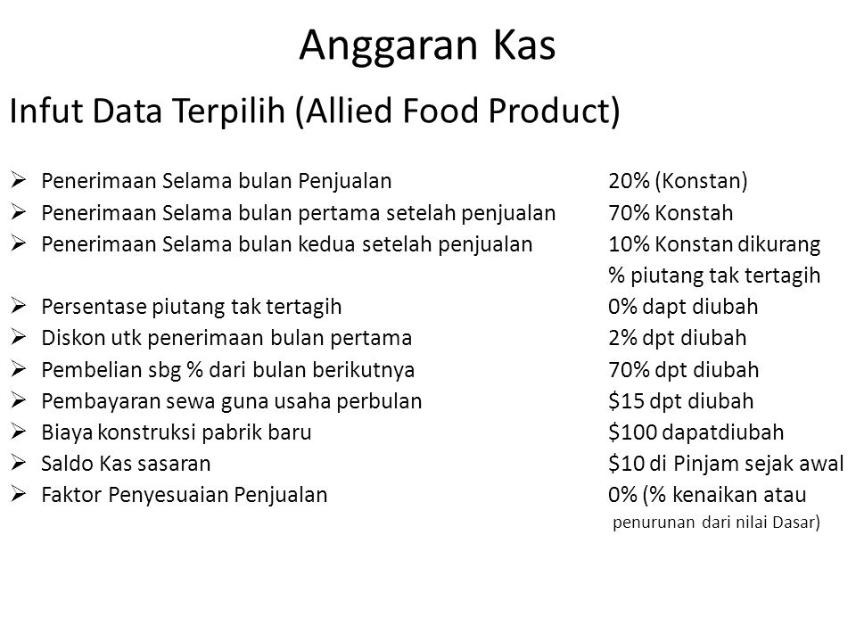 Anggaran Kas Infut Data Terpilih (Allied Food Product)