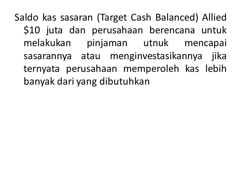 Saldo kas sasaran (Target Cash Balanced) Allied $10 juta dan perusahaan berencana untuk melakukan pinjaman utnuk mencapai sasarannya atau menginvestasikannya jika ternyata perusahaan memperoleh kas lebih banyak dari yang dibutuhkan