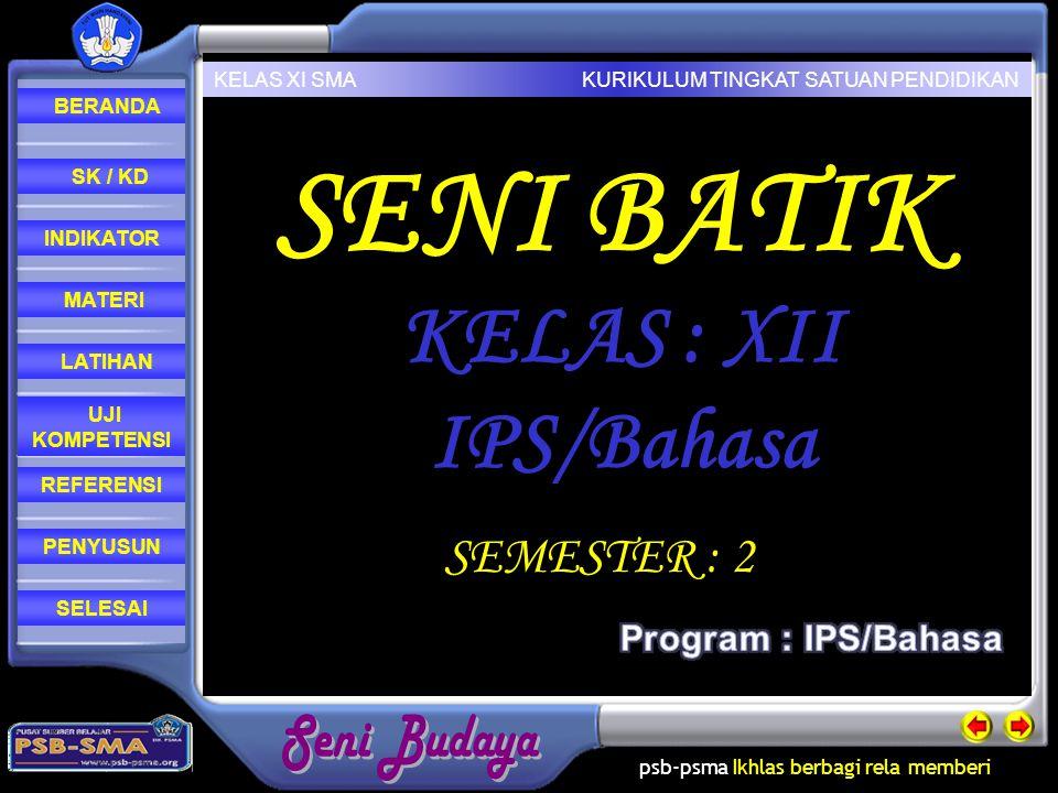 SENI BATIK KELAS : XII IPS/Bahasa SEMESTER : 2 Program : IPS/Bahasa